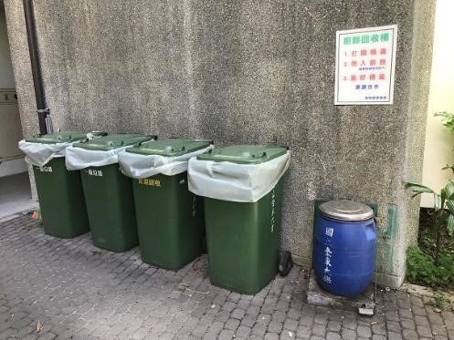 Recycling bins (solid waste in green and food waste in blue) (left and middle) and collection site (right) at Campuses. (Taitung University)